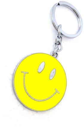 GCT Smiley Emoji Smiling Face Emoticon (KC-5) Yellow Metal Keychain for Car Bike Men Women Keyring
