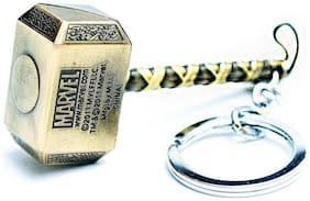 GCT Thor Hammer Marvel Avengers Infinity War Superhero (KC-2) Gold Metal Keychain for Car Bike Men Women Keyring