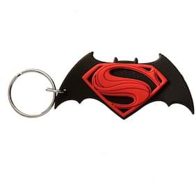 GCT Two Sided Batman vs Superman Logo Superhero (KC-1) Black Red Rubber Keychain for Car Bike Men Women Keyring