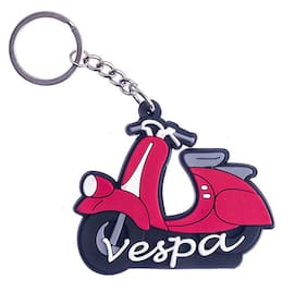 GCT Two Sided Red Rubber Keyring for Car Bike Scooty Scooter Men Women (KC-1) Compatible with Vespa Keychain