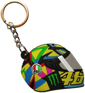 GCT Two Sided 46 The Doctor Biker Helmet (KC-5) Yellow Black Rubber Keychain for Car Bike Men Women Keyring