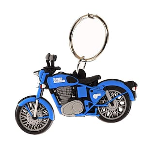 GCT Two Sided Blue Rubber Keyring for Car Bike Men Women (KC-41/1) Compatible with Royal Enfield RE Bullet Bike Keychain