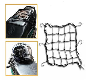 Geargo Motorcycle Bike Hooks Bungee Cargo Net - Black