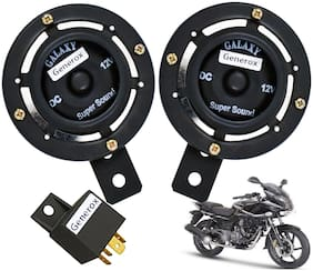 Generox Black Grill Dual Tone Horn with Relay for Bajaj Pulsar 220 (Set of 2)
