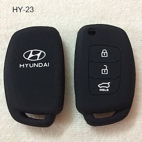 Genxtra  Silicone Key Cover/Remote Key Cover (Black) (Hyundai (Flip Key)