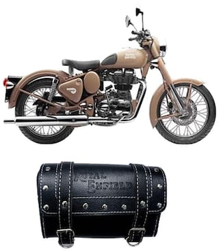 Gking Black Customize Side Saddle Bag With Fancy Buttom For Royal Enfield Classic Desert Storm