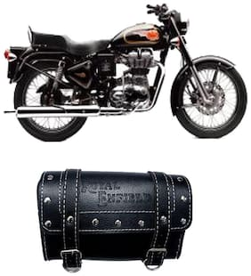 Gking Black Customize Side Saddle Bag With Fancy Buttom For Royal Enfield 500 Twinspark