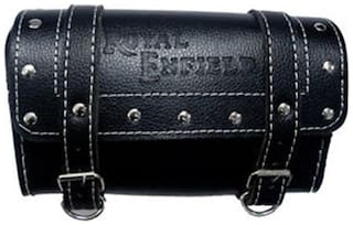 Gking Black Customize Side Saddle Bag With Fancy Buttom For Royal Enfield Bullet Bike