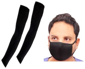Gking Black Arm Sleeves for Bikers & cycle rider with free pollution mask