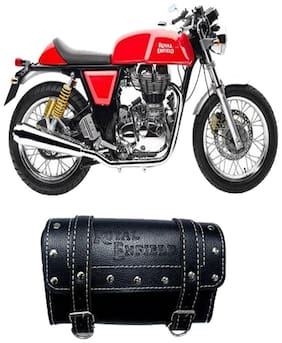 Gking Black Customize Side Saddle Bag With Fancy Buttom For Royal Enfield Continental GT