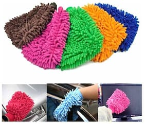 Gking Car cleaning Micro Fiber Washing Glove(assorted colour)Pack-3