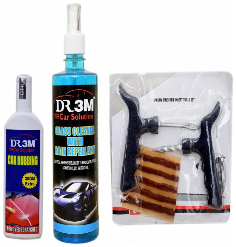 GLASS CLEANER WITH RAIN REPELLANT 500ml.+CAR RUBBING 100g 30 g EXTRA . + Panchar kit   Master combo Pack  by DR3M