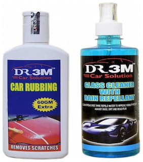 GLASS CLEANER WITH RAIN REPELLANT 500ml.+CAR RUBBING 200g(60 g EXTRA).
