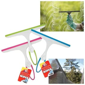 Glass Cleaning Wiper Assorted Color For Car / Bike / Home / Office etc. - Dusters & Wipers - Car Care & Tool Kits - Automotive (Pack of 1) Assorted Color