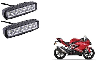 GLOBALINK 6 led Bar Auxilary Fog Lamp assembly set of 2 For TVS Apache rr 310 White