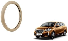 GLOBALINK Beige PU Leather Steering Cover For Datsun Go Plus Beige