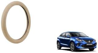 GLOBALINK Beige PU Leather Steering Cover For Maruti Suzuki New Baleno Beige