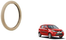 GLOBALINK Beige PU Leather Steering Cover For Maruti Suzuki Alto Beige