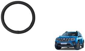 GLOBALINK Black PU Leather Steering Cover For Renault Duster Black
