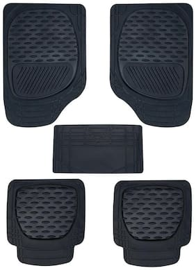 GLOBALINK Black Rubber Mat Set of 5 pc For Toyota Etios