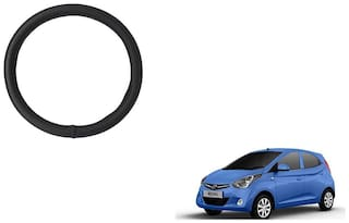GLOBALINK Black PU Leather Steering Cover For Hyundai Eon Black