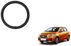 GLOBALINK Black PU Leather Steering Cover For Datsun Go Black