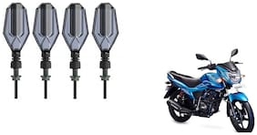 GLOBALINK DRL LED Turning Side Indicator for Bikes Pack of 4 Blue and Yellow TVS Victor