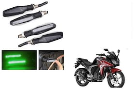 GLOBALINK Green Amber Indicators Set Of 4 For Yamaha FZ Ver 2.0 FI