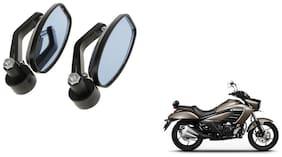 GLOBALINK Handle Oval Mirror Black Set of 2 For Suzuki Intruder 150