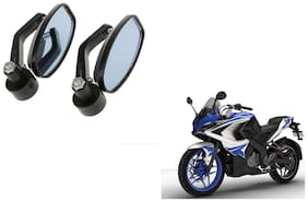 GLOBALINK Handle Oval Mirror Black Set of 2 For Bajaj Pulsar rs 200