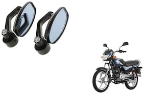 GLOBALINK Handle Oval Mirror Black Set of 2 For Bajaj CT 100