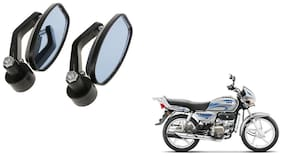 GLOBALINK Handle Oval Mirror Black Set of 2 For Hero splendor plus i3s