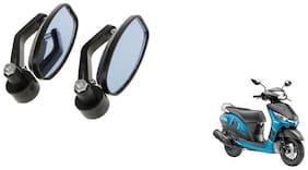 GLOBALINK Handle Oval Mirror Black Set of 2 For Yamaha Alpha