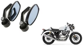 GLOBALINK Handle Oval Mirror Black Set of 2 For Royal Enfield Continental GT 650