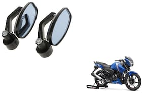 GLOBALINK Handle Oval Mirror Black Set of 2 For TVS Apache rtr 160