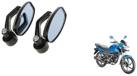 GLOBALINK Handle Oval Mirror Black Set of 2 For Honda Livo