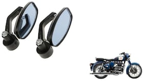 GLOBALINK Handle Oval Mirror Black Set of 2 For Royal Enfield Classic 350