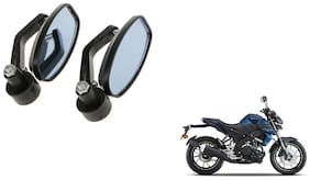 GLOBALINK Handle Oval Mirror Black Set of 2 For Yamaha MT 15