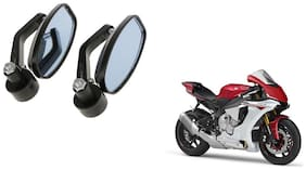 GLOBALINK Handle Oval Mirror Black Set of 2 For Yamaha YZF R1