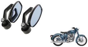 GLOBALINK Handle Oval Mirror Black Set of 2 For Royal Enfield Classic Squadron Blue