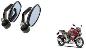 GLOBALINK Handle Oval Mirror Black Set of 2 For Yamaha Yamaha Fazer 25