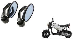 GLOBALINK Handle Oval Mirror Black Set of 2 For Honda Navi