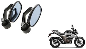GLOBALINK Handle Oval Mirror Black Set of 2 For Suzuki Gixxer 250