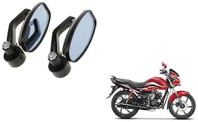 GLOBALINK Handle Oval Mirror Black Set of 2 For Hero Passion pro 110
