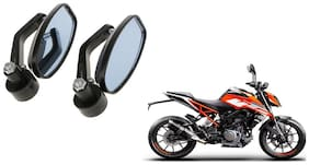 GLOBALINK Handle Oval Mirror Black Set of 2 For KTM 250 Duke