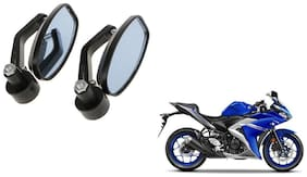 GLOBALINK Handle Oval Mirror Black Set of 2 For Yamaha YZF R3