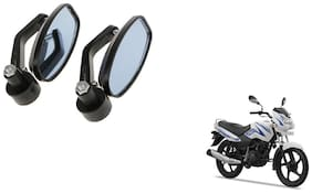 GLOBALINK Handle Oval Mirror Black Set of 2 For TVS Sport