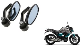 GLOBALINK Handle Oval Mirror Black Set of 2 For Yamaha FZ S V3