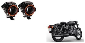 GLOBALINK U7  ring Auxilary Fog Lamp Assembly Set of 2 For Royal Enfield Classic Stealth Black Red