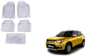 GLOBALINK White Transparent Car Foot/Floor Mat set of 5 For Maruti Suzuki Vitara Brezza